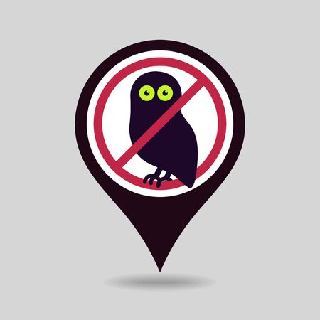 No, Ban or Stop signs. Halloween owl pin map icon. Map pointer. Map markers. Prohibition forbidden red symbols, vector illustration eps 10