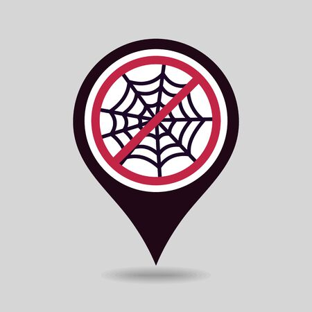No, Ban or Stop signs. Spider web halloween pin map icon. Map pointer. Map markers. Prohibition forbidden red symbols, vector illustration eps 10