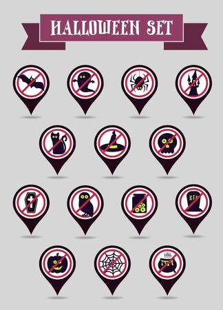 Set of halloween pin map icon. Map pointer. Map markers. Vector illustration eps 10