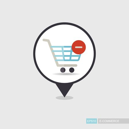 Shopping cart pin map icon with minus. Remove from cart. E-commerce sign. Map pointer. Map markers. Illustration
