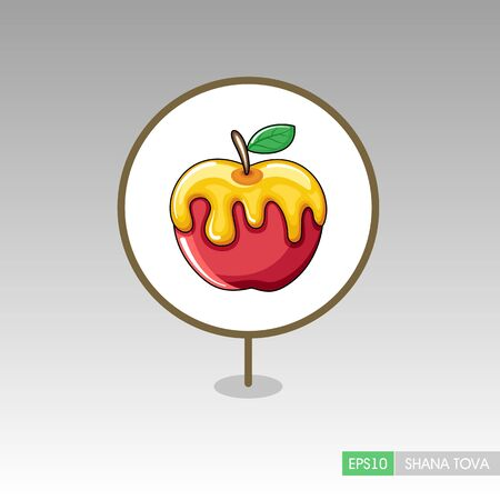 Honey on apple. Rosh Hashanah pin map icon. Shana tova Map pointer. Happy and sweet new year in Hebrew. Map marker. Graph symbol for your web site design,app, UI. Vector illustration Stock Illustratie