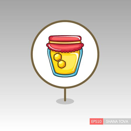 Jar of honey. Rosh Hashanah pin map icon. Shana tova Map pointer. Happy and sweet new year in Hebrew. Map marker. Graph symbol for your web site design, app, UI. Vector illustration