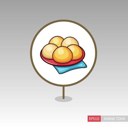 Hanukkah doughnut. Traditional Jewish holiday food. Rosh Hashanah pin map icon. Shana tova Map pointer. Happy and sweet new year in Hebrew. Map marker. Vector illustration Ilustrace