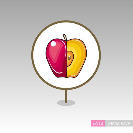 Apple. Rosh Hashanah pin map icon. Shana tova Map pointer. Happy and sweet new year in Hebrew. Map marker. Graph symbol for your web site design, app, UI. Vector illustration