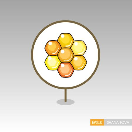 Bee honeycomb. Honey. Rosh Hashanah pin map icon. Shana tova Map pointer. Happy and sweet new year in Hebrew. Map marker. Graph symbol for your web site design, app, UI. Vector illustration Stock Illustratie