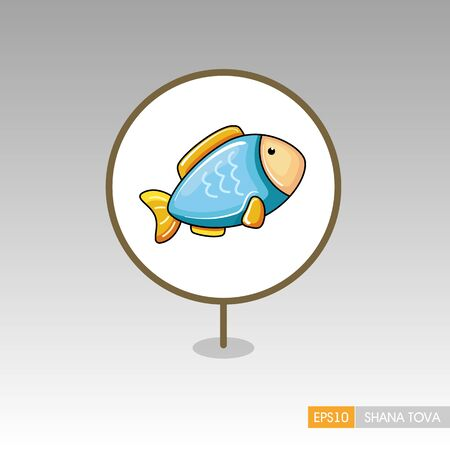 Fish. Rosh Hashanah pin map icon. Shana tova Map pointer. Happy and sweet new year in Hebrew. Map marker. Graph symbol for your web site design, app, UI. Vector illustration Ilustrace