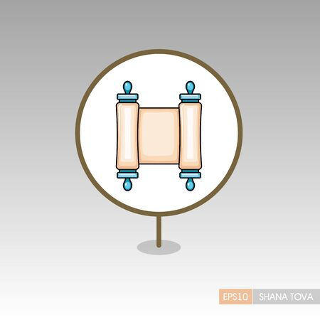 Torah scroll. Rosh Hashanah pin map icon. Shana tova Map pointer. Happy and sweet new year in Hebrew. Map marker. Graph symbol for your web site design,  app, UI. Vector illustration Ilustrace