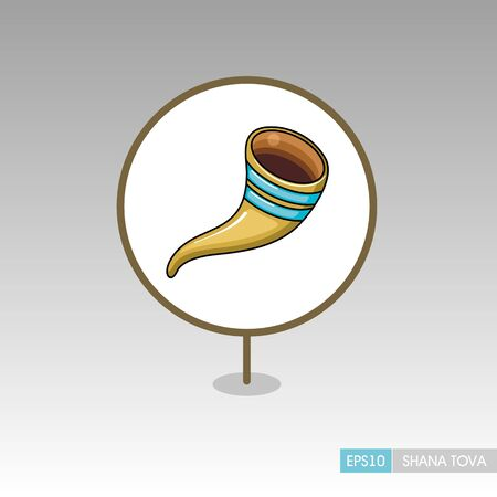 Shofar. Rosh Hashanah pin map icon. Shana tova Map pointer. Happy and sweet new year in Hebrew. Map marker. Graph symbol for your web site design, app, UI. Vector illustration Ilustrace