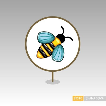 Bee. Rosh Hashanah pin map icon. Shana tova Map pointer. Happy and sweet new year in Hebrew. Map marker. Graph symbol for your web site design, app, UI. Vector illustration