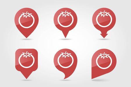 Tomato flat vector pin map icon. Map pointer. Map markers. Vegetable vector illustration