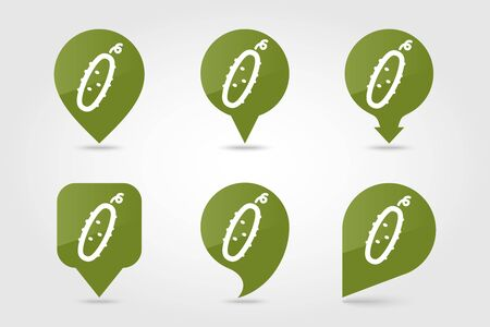 Cucumber flat vector pin map icon. Map pointer. Map markers. Vegetable vector illustration Çizim