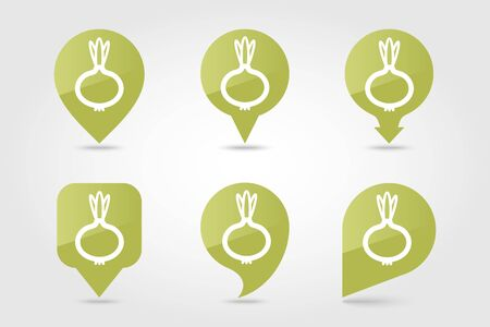 Onion flat vector pin map icon. Map pointer. Map markers. Vegetable vector illustration Ilustrace