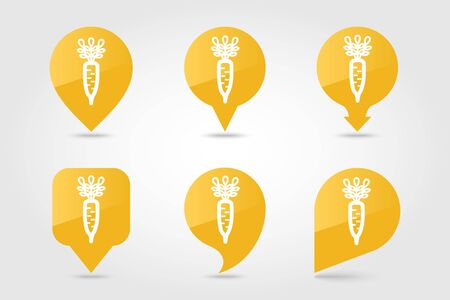 Daikon flat vector pin map icon. Map pointer. Map markers. Vegetable root vector illustration