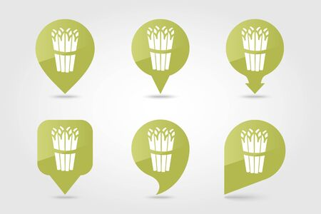 Asparagus flat vector pin map icon. Map pointer. Map markers. Vegetable vector illustration