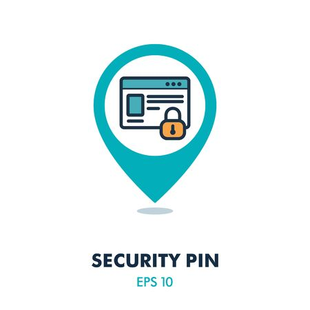 Internet protection symbol, data protection shield , information security pin map icon. Security map pointer. Map markers