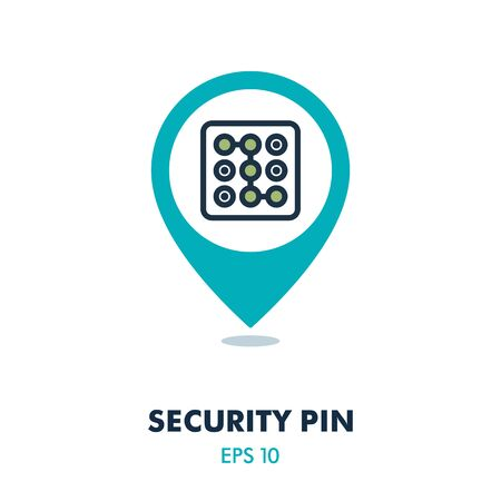 Security code pin map icon. Phone lock. Security map pointer. Map markers. Graph symbol for your web site design, app, UI