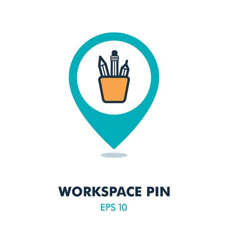 Pencil stand pin map icon. Work space map pointer.  イラスト・ベクター素材