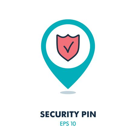 Best protection shield pin map icon. Security map pointer. Map markers. Graph symbol for your web site design, app, UI