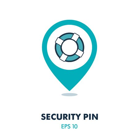 Life saver pin map icon. Security map pointer. Map markers. Graph symbol for your web site design, app, UI