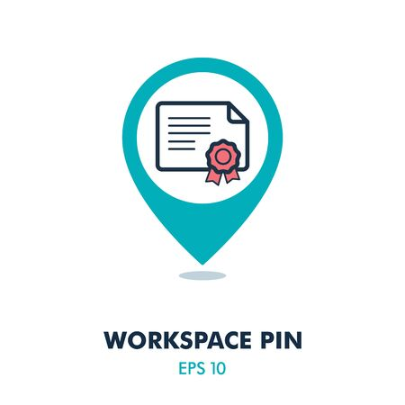 Certified pin map icon. Work space map pointer. Map markers. Graph symbol for your web site design, app, UI