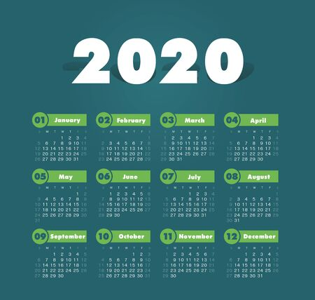 Calendar 2020 year. Color vector template. Week starts on Sunday. Basic grid. Pocket square calendar. Ready design Illusztráció