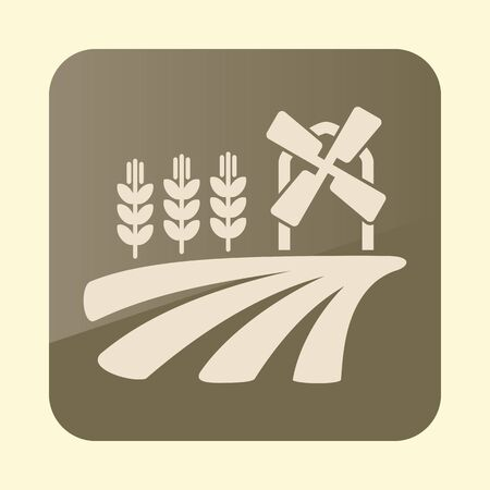 Field with a windmill and ears of wheat icon.