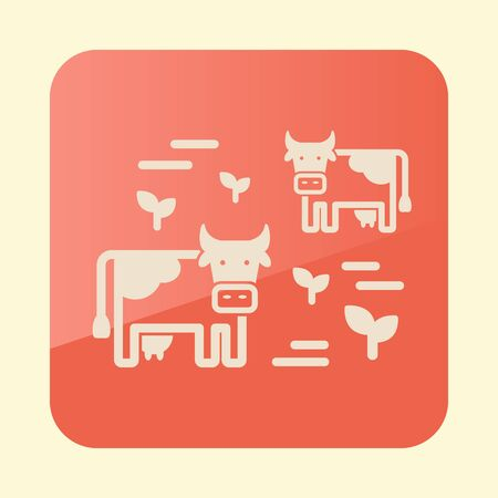 Cow on a pasture icon. Agriculture sign.