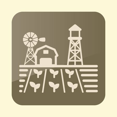 Farm landscape with barn, wind pump, seedling and water tower icon. Agriculture sign.