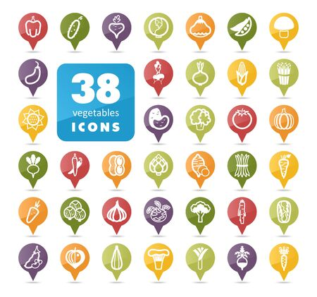 Vegetables flat vector pin map icons set. Map pointer. Map markers.