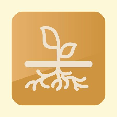 Plant with roots icon. Garden sign.