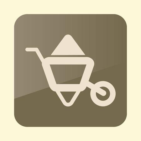 Wheelbarrow carts flat icon. Garden sign