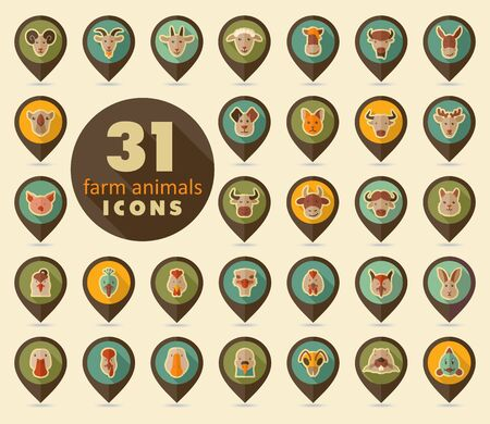 Set of farm animals flat pin map icon. Map pointer. Map markers. Animal head vector illustration