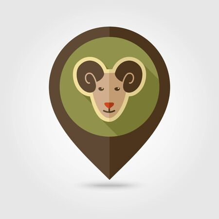 Sheep flat pin map icon. Map pointer. Map markers. Animal head vector illustration Çizim