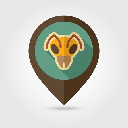 Bee wasp bumblebee flat pin map icon. Map pointer. Map markers. Animal head vector symbol