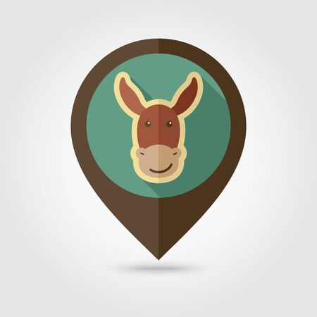 Donkey flat pin map icon. Map pointer. Map markers. Animal head vector illustration  イラスト・ベクター素材