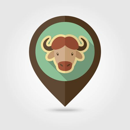 Buffalo bull bison ox flat pin map icon. Map pointer. Map markers. Animal horned head vector symbol Stock Illustratie
