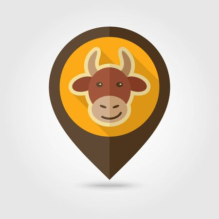 Cow flat pin map icon. Map pointer. Map markers. Animal head vector illustration Stock Illustratie