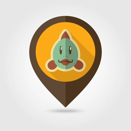 Fish flat pin map icon. Map pointer. Map markers. Animal head vector illustration  イラスト・ベクター素材
