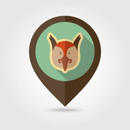 Pheasant flat pin map icon. Map pointer. Map markers. Animal head vector illustration, eps 10 Illustration