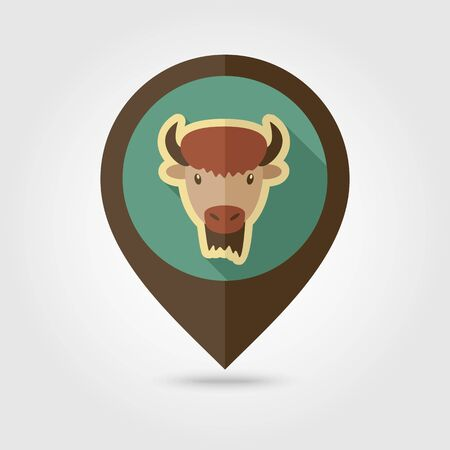 Bison bull buffalo ox flat pin map icon. Map pointer. Map markers. Animal horned head