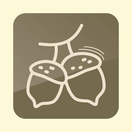 Acorn outline icon. Harvest. Thanksgiving vector illustration Çizim
