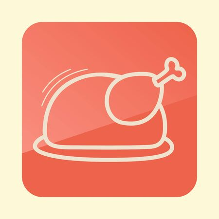 Roasted chicken or Turkey ready for Thanksgiving outline icon. Vector icon or sign. Ilustração