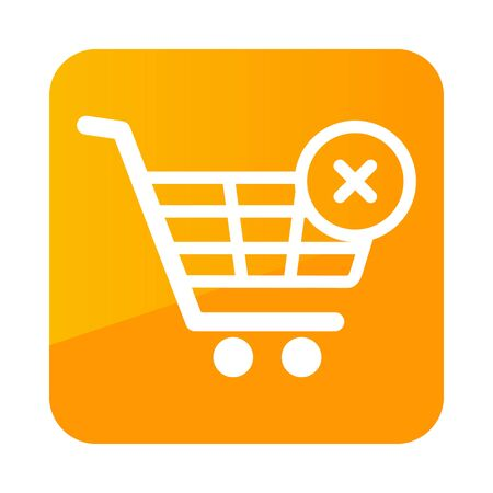 Shopping cart with cross sign. Cancel or delete purchase simple icon. E-commerce. Graph symbol for your web site design  app, UI