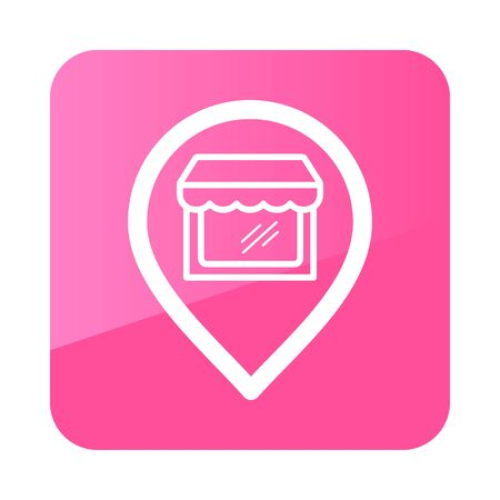 Supermarket store front pin map icon. E-commerce sign. Graph symbol for your web site design,   app, UI. Vector illustration