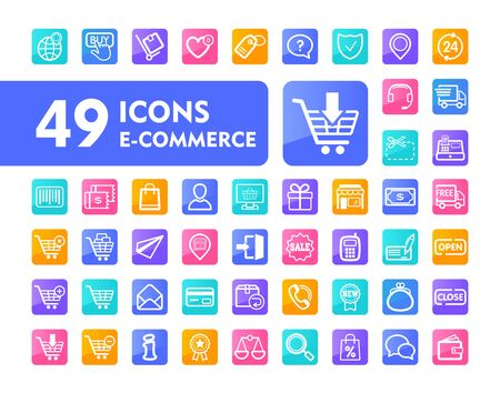 E-commerce set vector icons shopping and online. Graph symbol for your web site design,   app, UI. Vector illustration