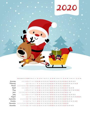 Calendar 2020 year. Santa Claus jumps on deer and sledge. Sack with gifts. Merry Christmas and Happy New Year. Color vector template. Week starts on Sunday