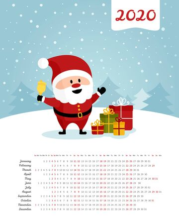Calendar 2020 year. Santa Claus with bell and gift boxes. Merry Christmas and Happy New Year. Color vector template. Week starts on Sunday