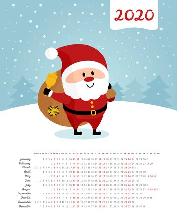 Calendar 2020 year. Santa Claus with a bag of gifts and a bell. Merry Christmas and Happy New Year. Color vector template. Week starts on Sunday 일러스트
