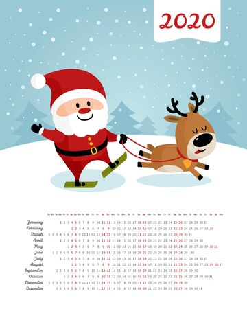 Calendar 2020 year. Santa Claus and deer skiing. Merry Christmas and Happy New Year. Color vector template. Week starts on Sunday 일러스트