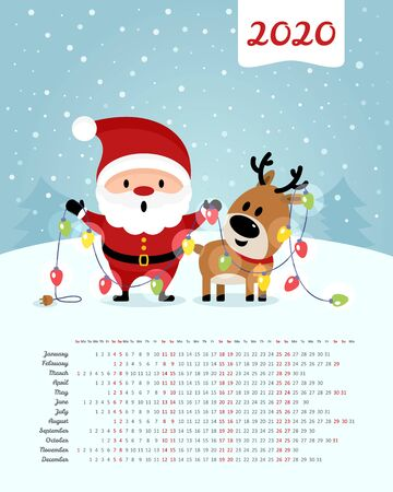 Calendar 2020 year. Santa Claus and deer with garland. Merry Christmas and Happy New Year. Color vector template. Week starts on Sunday